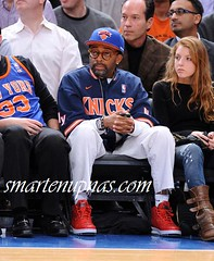 spike lee rocking lebron big apples sneakers