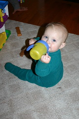 Enjoying the sippy cup