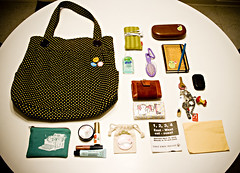 What's in my bag 12/07/08 (Ani-Bee) Tags: bus green typewriter yellow pen hair bag notebook keys glasses mirror buxton ipod perfume wallet buttons hellokitty pins brush case polkadots purse pouch envelope foof pocket lipgloss schedule tissues salve keychains coupons handsanitizer lipglass tampons spritzer vintagegucci
