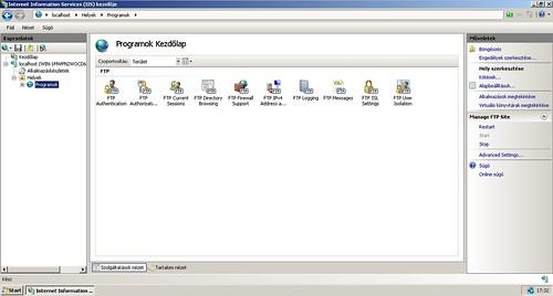IIS kezelője: Létrehozott FTP oldal kezelése