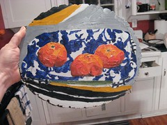 phase3 (ohyeth2008) Tags: stilllife painting myart oranges tulsa clementines oilpainting phases blueorange coolfabricpatterns lookatemlines