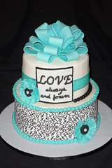 "Black white and tiffany blue bridal shower cake • <a style=""font-size:0.8em;"" href=""http://www.flickr.com/photos/60584691@N02/5830211420/"" target=""_blank"">View on Flickr</a>"