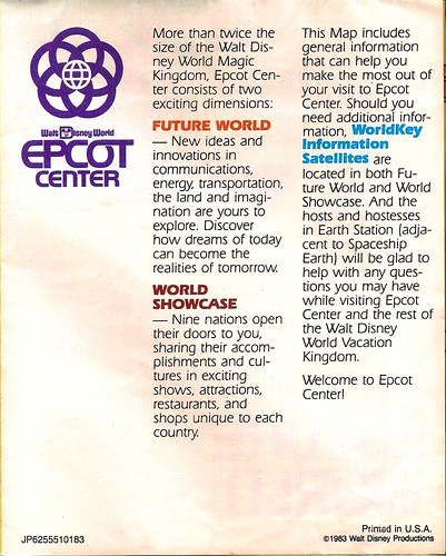 EPCOT Center map 1983 2