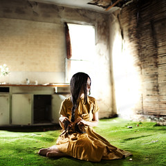 homegrown. (karrah.kobus) Tags: portrait abandoned kitchen girl grass alone lonely homegrown braid