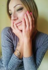 MisciMU3 (Beauty*is*a*Trick) Tags: pink blue portrait woman beauty yellow tattoo hands natural makeup lips nails blonde hazeleyes lipstick