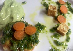 Tofu in salsa con mousse tutto verde