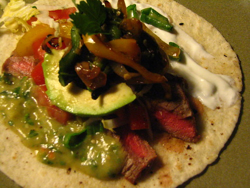 Perfect Steak Tacos with Rajas and Tomatillo Salsa