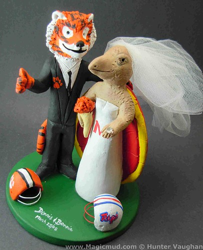 Clemson Tiger Weds Maryland Terrapin Wedding Cake Topper