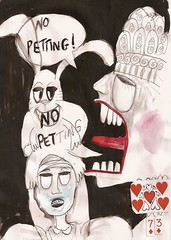 73 (Debbie Harman) Tags: rabbit art mushroom sketch paint alice drawings graphicnovel aprons pockets cheshirecat checks caterpiller aliceintartland cartoonsdebbieharman