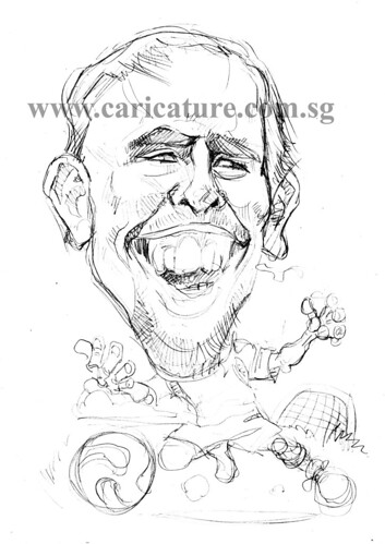 Caricature of Franck Ribery pencil sketch watermark