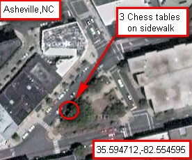 Asheville NC Pritchard Park chess tables