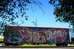 Hit n' Steel (All Seeing) Tags: art graffiti trains graffitiart wholecars freights paintedtrains railart endtoend monikers end2end freightgraffiti boxcarart hobotags hitnsteel