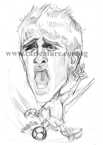 Caricature of David Villa pencil sketch watermark