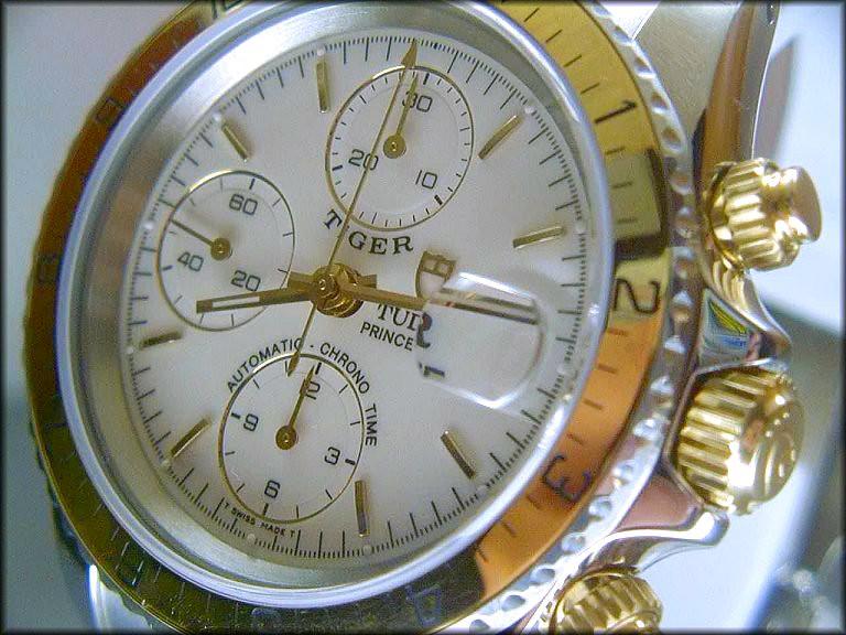 Rare Tudor Two-tone Tiger Chronograph - Closeup