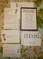 Wedding Invitations - Jennifer and Richard (UglyKitty) Tags: party brown paper key antique ivory gocco etsy custom invite stationary rsvp weddinginvitation layered cardstock papergoods screenprinted uglykittyweddinginvitation