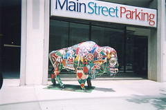Patchwork Buffalo (aimeedars) Tags: aimeedars summer 2004 buffalo spiritofthebuffalo oklahoma ok publicart paintedbuffalo paintedsculpture painted statue