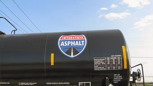 Shiny, brand new Interstate Asphalt tank car. The Canadian National ex Illinois Central Crawford Yard. Chicago Illinois. June 2008. by Eddie from Chicago