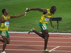 Usain Bolt wins another gold in the 4x 100m relay (SH Wayne) Tags: gold beijing games jamaica bolt record olympic olympics exchange relay baton 100m worldrecord 4x 4x100m 2008olympics usain 4x100 batonexchange