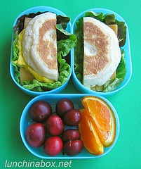Egg muffin sandwich bento lunch for preschooler
