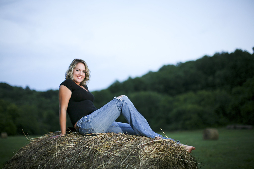 This was Christina's idea. I didn't want to ask her to climb so high to get on a haybale, but I sure wanted the picture. Thanks Christina for asking!
