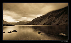 Wastwater. (numanoid69) Tags: uk lake mountains sepia reflections landscape nationalpark lakedistrict cumbria fells wastwater nikond300 prideofengland distinguishedblackandwhite