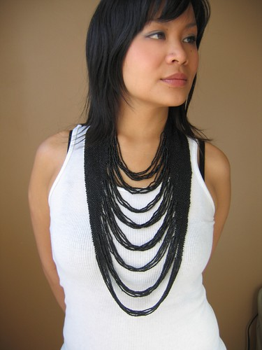 black waterfall necklace