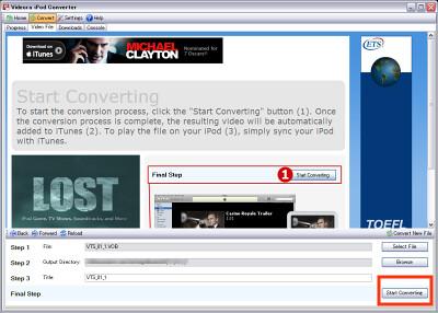 Videora Start Converting