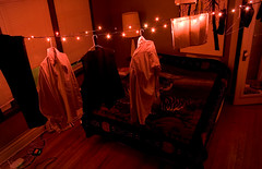 couldnt find rope (ccfenter) Tags: christmas red lights bedroom dry christmaslights laundry hang airdry