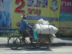 Thai 3-Wheeling (crystoforo) Tags: hat bicycle thailand bangkok common lowtech top36 top50 topfavorite topphotos