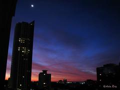 Story of One Sunrise (Katrin Ray) Tags: city light summer sky moon toronto ontario canada sunrise dawn story crescentmoon fiatlux andtherewaslight august272008 katrinray oacaophotos
