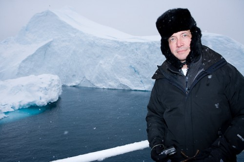 Jonathan Dove taking part in the global warming expedition in Greenland