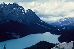 Canadian Rockies and Peyto Lake, 1962 (lreed76) Tags: lake mountains clouds 1962 banffnationalpark peytolake canadianrockies glaciallake