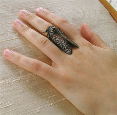 Black Cicada Ring (MadArtjewelry) Tags: black cicada foundobject patina