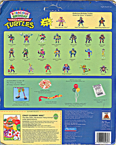 """Bodacious Birthday"" TEENAGE MUTANT NINJA TURTLES ::  TEENAGE MUTANT NINJA TURTLES ::  CRAZY CLOWIN' MIKE .. backer ii (( 1992 ))"