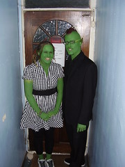 Mike and Kelly get green for Halloween (the_dan) Tags: green halloween mike dress kelly fancydress elves mohican goblins pointyears