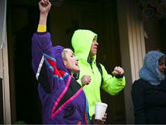 marathon stoop party (sgoralnick) Tags: nyc newyork race video marathon nycmarathon running run runners nickgray daniellestrle g9 canong9