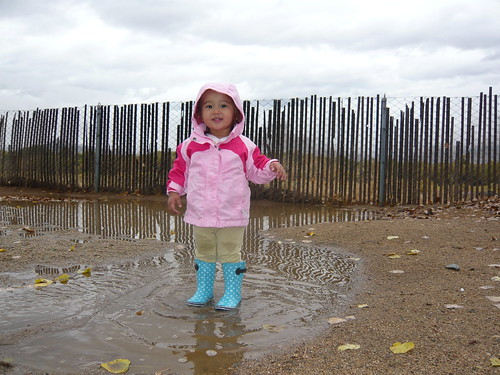 Rain boots and puddles
