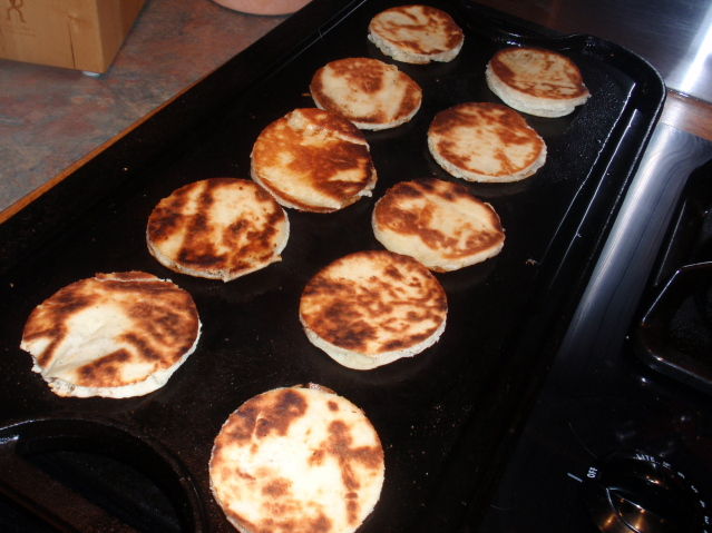 grill the naan circles until brown on both sides
