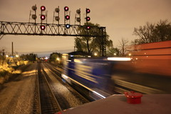 """NIRC 7"" (Set and Centered) Tags: railroad chicago wisconsin night train work photography illinois exposure time north 7 trains southern amtrak commuter locomotive passenger metra avenue length freight switcher emd sd402 sw1500 wsor sw1200 nirc"
