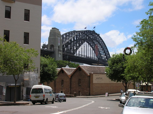 The Harbour Bridge above the old Campbells warehouse buildings