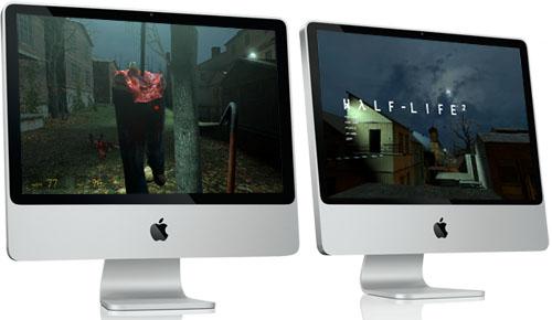 Precioso collage de Half-Life 2 corriendo en unos iMac