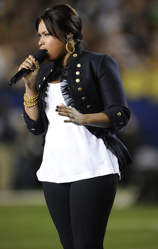 Jennifer Hudson at the Super Bowl.