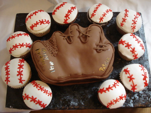 Baseball Mitt Cake and Baseball Cupcakes - The Sugar Me Bakery