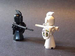 Joust! (monsterbrick) Tags: lego micro blackknight whiteknight moc