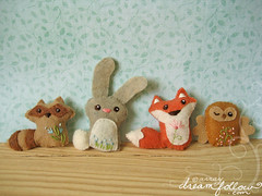 more woodland animals! (merwinglittle dear) Tags: rabbit bunny animal woodland toy doll little embroidery mini felt plush mascot pillow fox owl blythe raccoon dear
