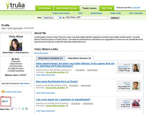 Trulia Voices Profile page