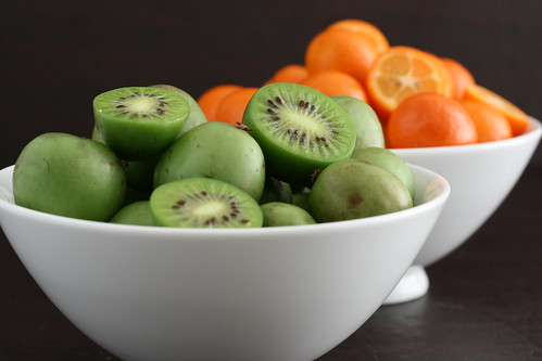 Bowls of Hardy Kiwis and Kumquats