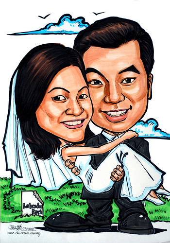 Carictures couple wedding at Labrador park Singapore