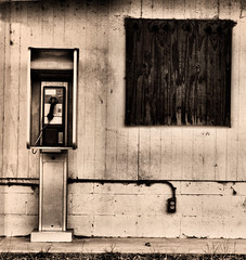 Here's a quarter (Gayle_T) Tags: old black sepia booth call phone decay payphone forgotten savannah richmondhill oldtimey vanishingbeauty