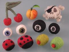 Cornucopia, felt of plenty.. (limealloy) Tags: eye wool lady ball bug cherry skull miniature cherries pin fb handmade peach olive felt pins eyeball ladybug eightball eight handmadefeltfood